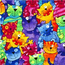 Timeless Treasures fabric from the USA with orange, green, blue, red cats