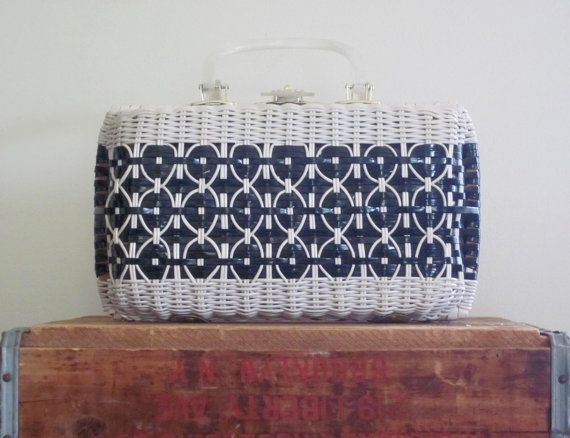 Wicker Purse / Black and White / 1960s / by TheThriftingMagpie