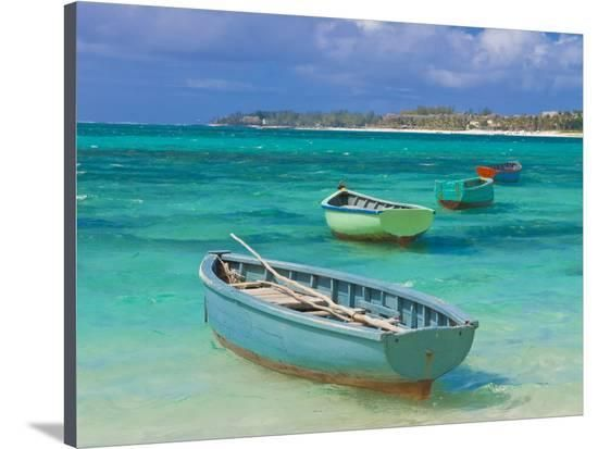 Small Fishing Boats in the Turquoise Sea, Mauritius, Indian Ocean, Africa Photographic Print at Art.com
