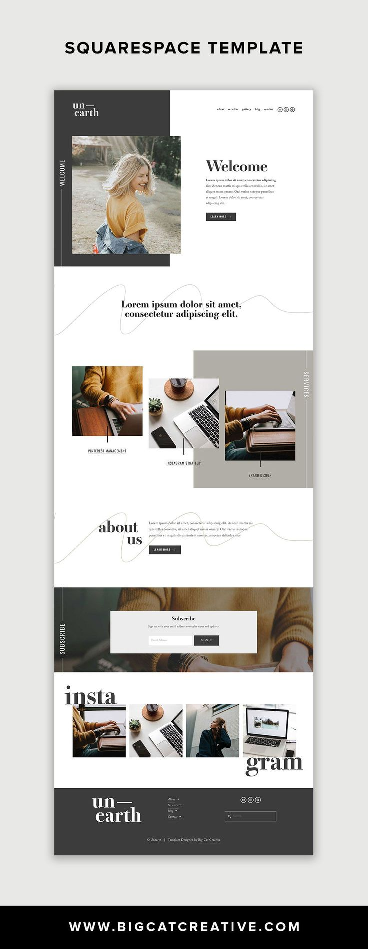 Unearth Squarespace Template is a modern and artis…
