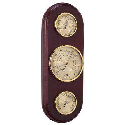AN 28.7138.E - Termometro, Barometro e Igrometro - Base in Legno - Inglese - H. 37 cm