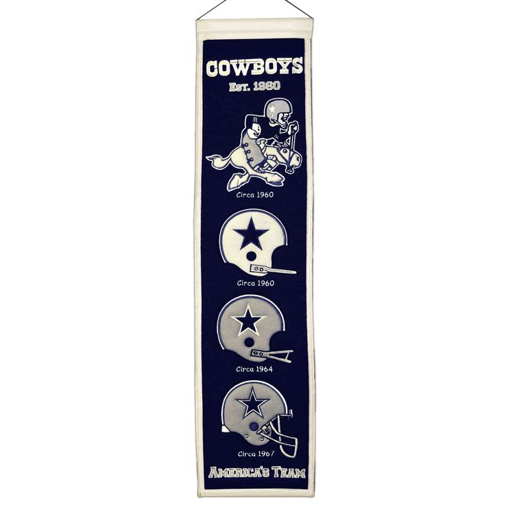 "This beautifully embroidered 8"" x 32"" wool banner tracks the evolution of the Dallas Cowboys team mascot/logo over the years. This banner is constructed with applique and embroidery and includes a hanging rod and cord."