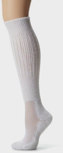 Thorlo Women's #Moderate #Cushion Fitness Slouch Sock, White, Medium/11 Ladies 6.5-10 Made by #Thorlo Color #White. Constructed with THOR-LON fibers for superior softness, resilience, durability, and moisture-wicking for drier, better feeling feet.. Cushioned instep and arch plus spandex for a better fit, more support and less pressure on the feet for more comfort while exercising.