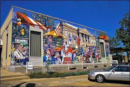 The remaining murals focus on the area's oil industry, the timber industry and the history of Southern Arkansas University located in Magnolia. Description from arkansas.com. I searched for this on bing.com/images