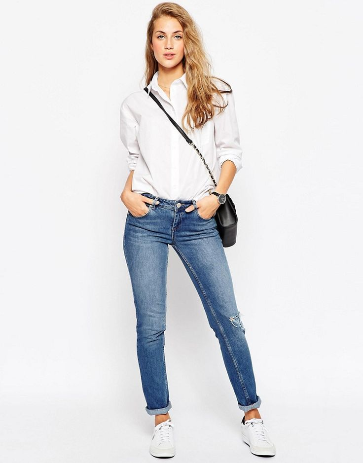 Image 4 of ASOS Slim Boyfriend White Shirt with Pleat Detail Back