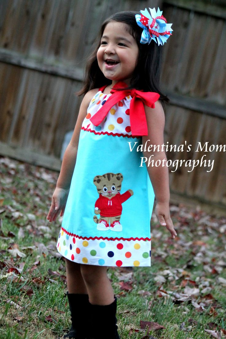 Beautiful and Unique  Daniel Tiger's Neighborhood pillowcase dress or halter dress by Valentinasplace on Etsy