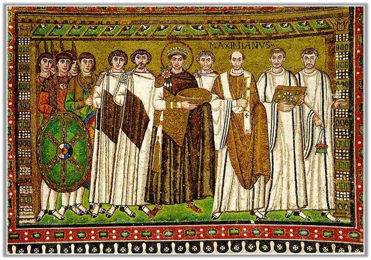 유스티니아누스 황제와 대신들, 이탈리아 라벤나 산 비탈레 바실리카 모자이크