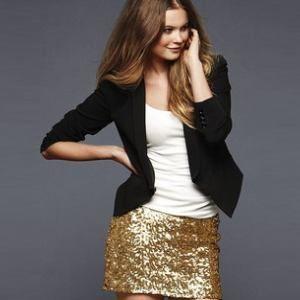 gold sequin skirt & blazer