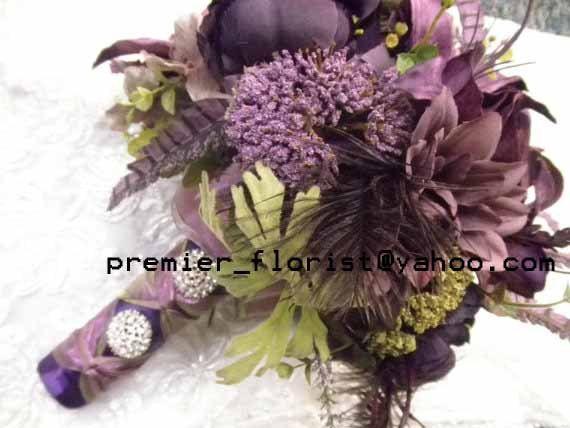 10 piece Wedding Flower Set. 1 Bridal Bouquet 1 Bridesmaid 6 Boutonniere 2…