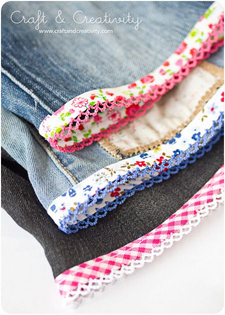 Turning Jeans into Shorts w decorative bias tape - I just think that's pretty at the bottom.