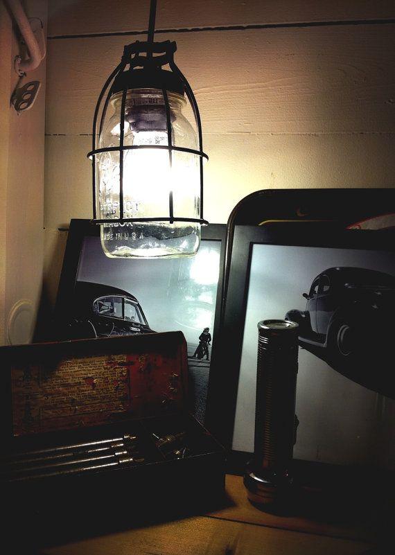Industrial Mason Jar Light Single Drop by VanVintageDesign on Etsy,