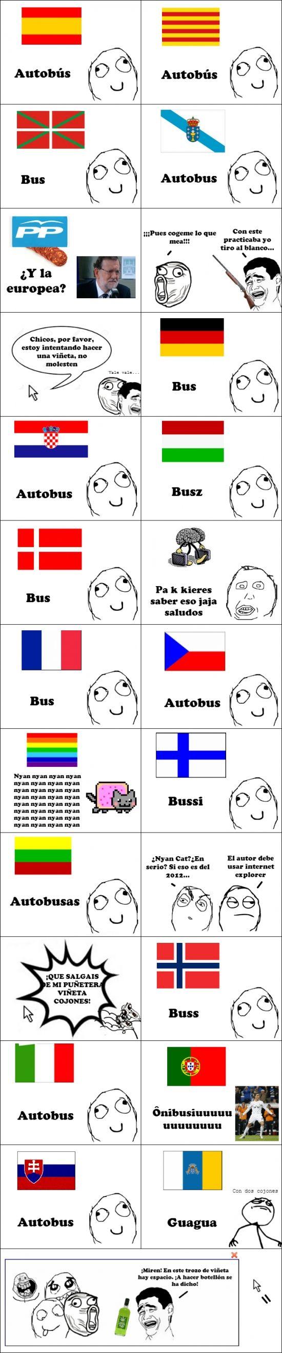 Así se dice autobús en diferentes idiomas        Gracias a http://www.cuantocabron.com/   Si quieres leer la noticia completa visita: http://www.estoy-aburrido.com/asi-se-dice-autobus-en-diferentes-idiomas/