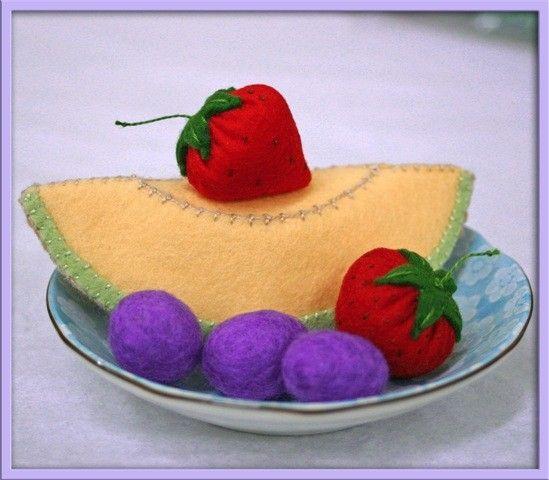 Wool Felt Play Food Cantaloupe Slice Waldorf by EvaLauryn