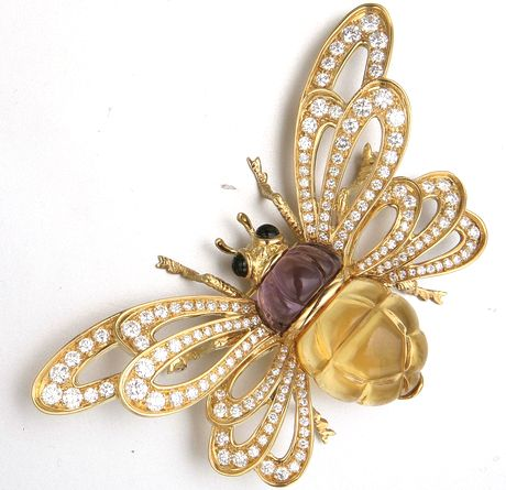 18K GOLD, COLORED STONE AND DIAMOND INSECT BROOCH, TALLARICO 156 diamonds approx 5.25 cts.