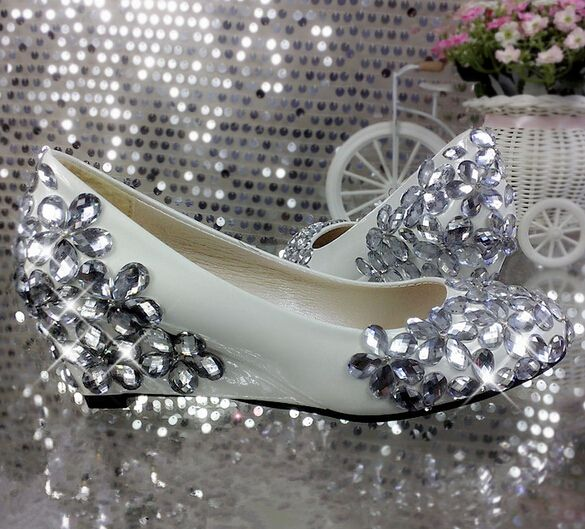 Wedges med 5cm heel woman wedding shoes with luxury silver rhinestones bridal wedged shoe TG304 female ladies bling  party shoe #Affiliate