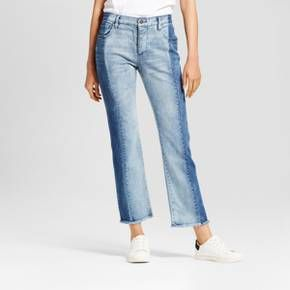 Denim specialty-dyed to your figure's advantage: Deconstructed Jeans - Who What Wear™. The secret weapon in this denim is the two-tone wash—darker on the outside and lighter inside, it creates the visual effect of longer, leaner legs. Torn-up hems for over your booties? Yes, please.