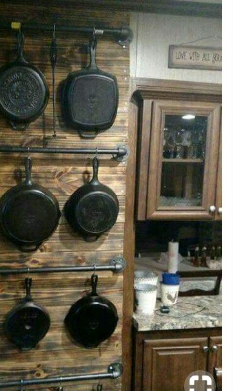 What a great way to display and store cast iron ware