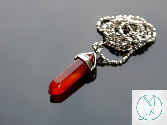 Red Agate Crystal Quartz Point Pendant Natural Gemstone