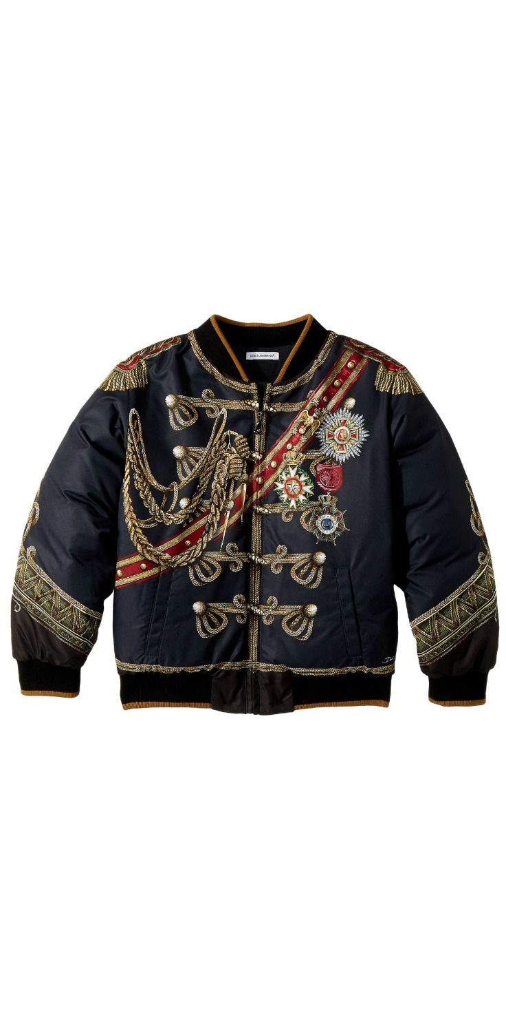 Commanding charm.  Any boy can feel like a hero, confidently cloaked with the handsome honor of the #DolceandGabbana #Kids Heraldic #Bomber #Jacket. #boys #child #children #childrenswear #outerwear #coats #jackets #apparel #clothing