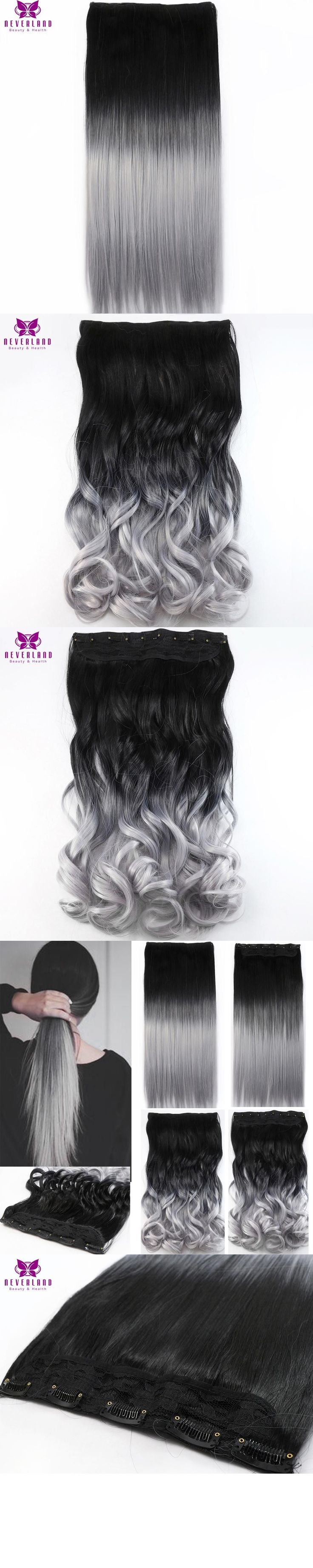 Neverland One Piece Hair Pad 60cm 5 Clips Women Synthetic Hairpieces Black to Silver Grey Ombre Color Clip In On Hair Extensions