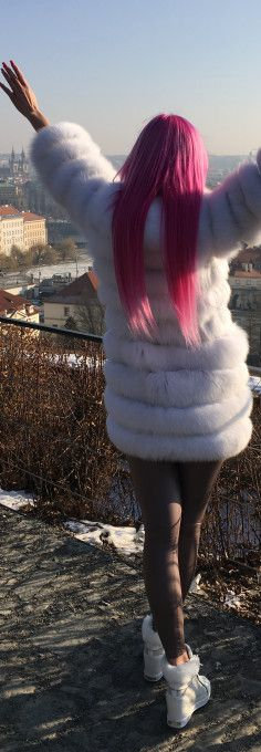 Weekend outfit, winter coat, polar fox fur, fur coat, brown leggings, guess shoes, sport shoes, white shoes, white coat, pink hair, Prague. What are the benefits and drawbacks of wearing a fur coat? See my blog post >>> http://justbestylish.com/the-benefits-drawbacks-of-wearing-fur-coat/