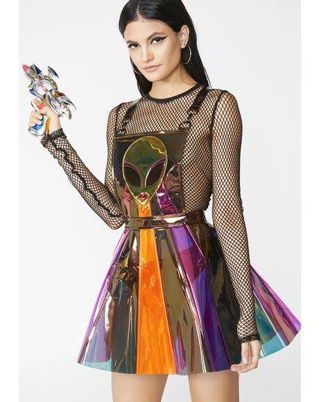 f957d902aa5 Beam Me Up Hologram Overall Dress  dollskill  clubexx  festival  coachella   cowgirl