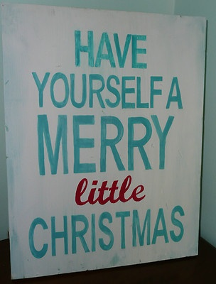 """""""Have Yourself A Merry Little Christmas"""" Vintage Look Hand Painted Sign Red Aqua 