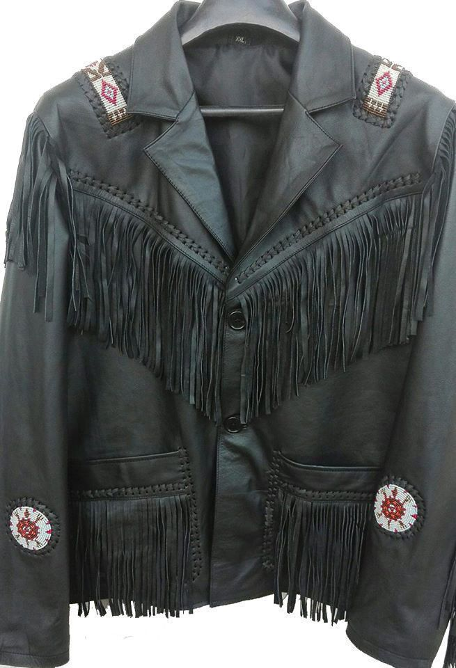Men's Western Culture Cowboy Leather Jacket Beads Patches