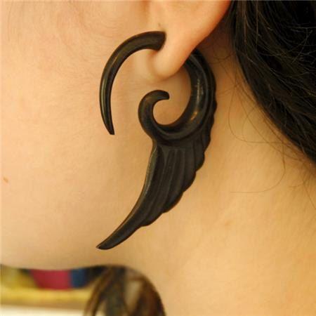 Fake Gauge Earrings Carved Wood Fake Hook Earrings by RONIBIZA