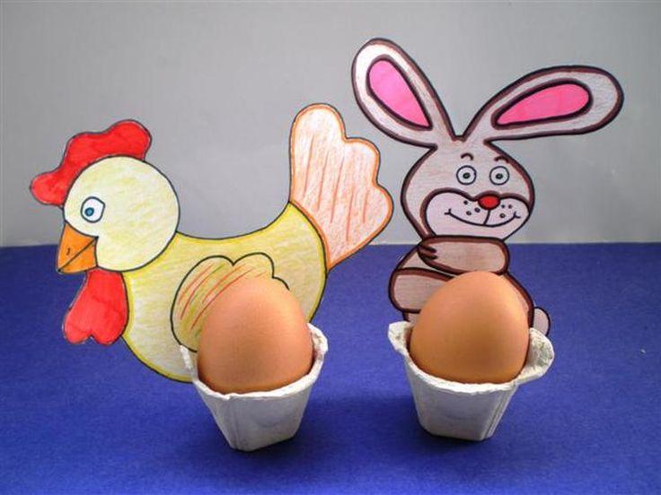 leuk knutselidee eierdopje haan haas eierdoos voor de