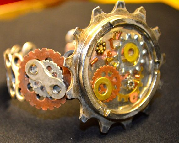 Bicycle gear bracelet cuff: Edgy Unique by BikeWareAccessories
