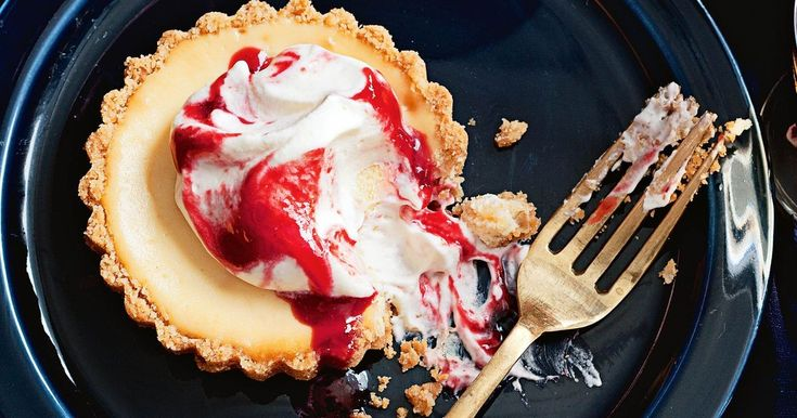 Bake individual cheesecakes to crown with jammy cream.