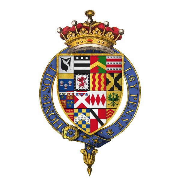 Quartered arms of Sir Henry Hastings, 3rd Earl of Huntingdon, KG - His great-grandfather was Lord William Hastings esteemed friend and ally of Edward IV and who was beheaded in 1483 at the direction of Richard III. His paternal grandparents were George Hastings, 1st Earl of Huntingdon, and Anne Stafford, Countess of Huntingdon. His maternal grandparents were Henry Pole, 1st Baron Montagu, and Jane Neville, a daughter of George Nevill, 4th Baron Bergavenny, and Margaret Fenne.