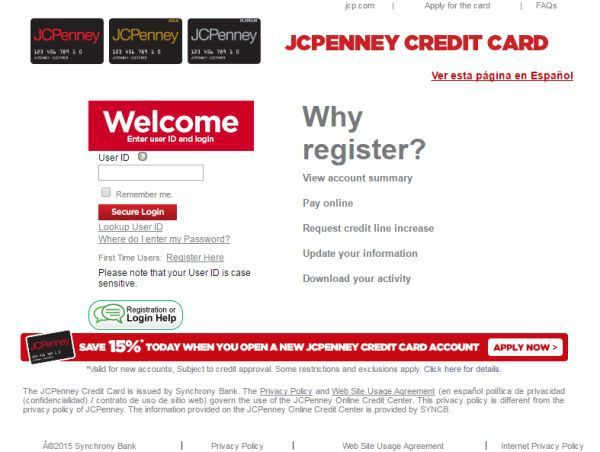 JCPenney Credit Card Login To
