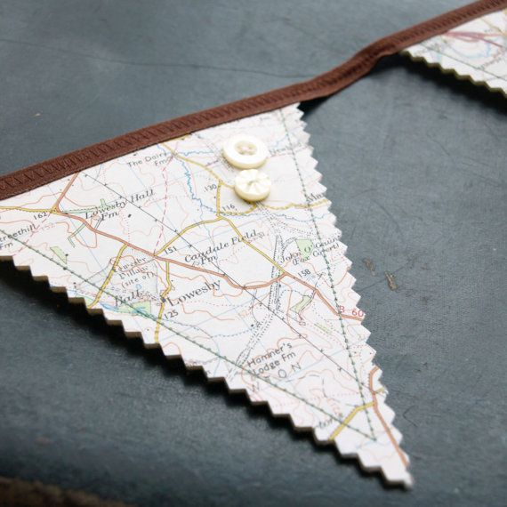 Mini-bunting made from old ordnance survey maps.    Unusual bunting string made from recycled old maps    The map flags are sewn onto cream felt