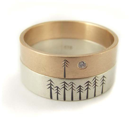 Diamond Engagement Wedding Band Set t in 9kt Rose Gold and White Gold with Pine Trees. $955.00, via Etsy.