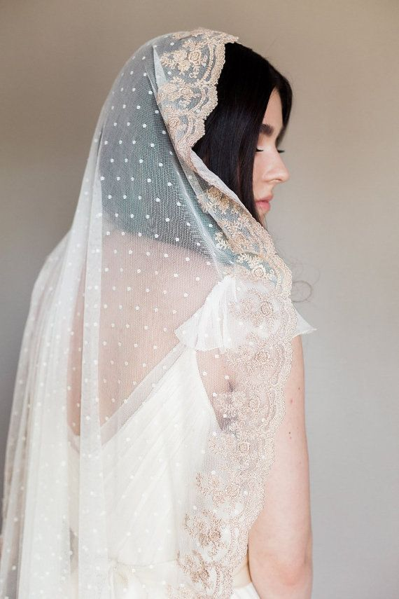 Bridal veil- Mantilla veil- Gold bridal veil-polka dot veil-wedding veil-fingertip veil- lace veil-beaded veil- style 102