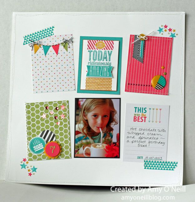 Project Life Everyday Adventure kit -- Amazing Birthday stamp set -- Scrapbook page by Amy O'Neill