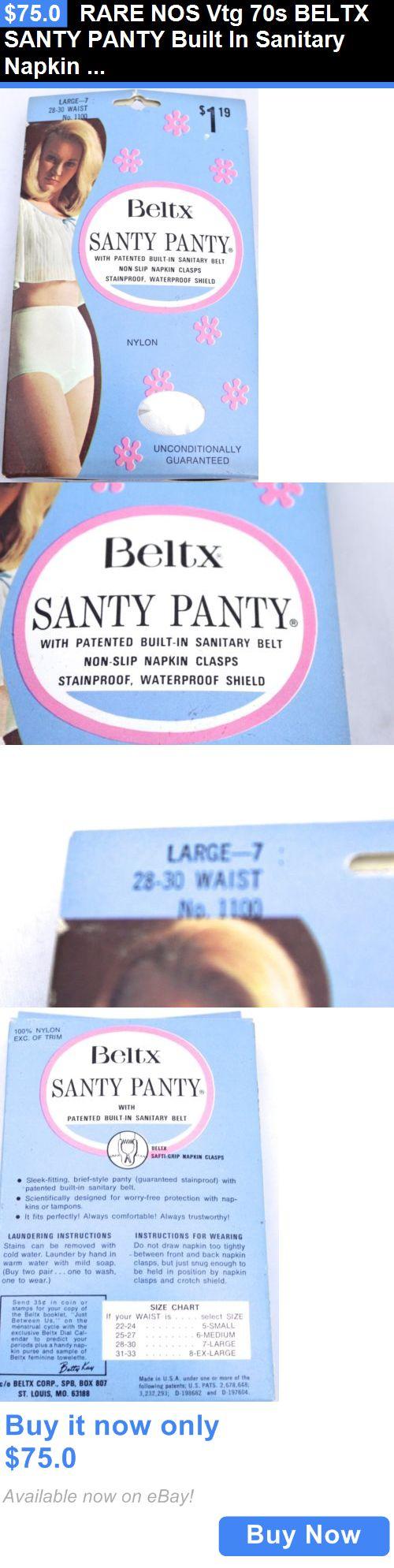 Sanitary Napkins: Rare Nos Vtg 70S Beltx Santy Panty Built In Sanitary Napkin Belt Panties L 28-30 BUY IT NOW ONLY: $75.0
