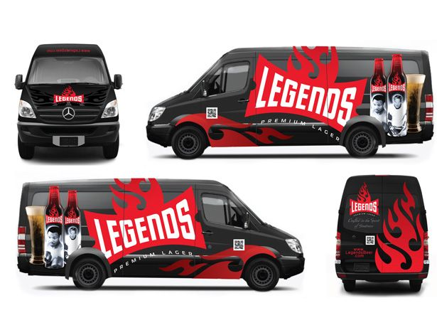 Legends premium lager mclean designs promotional vehicle graphics helped build awareness and showcase the product