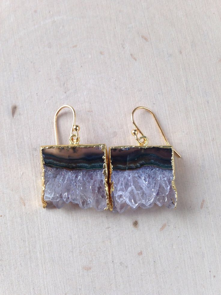 Raw Amethyst Earrings: Amethyst Slice Earrings, Amethyst Dangle Earrings, Amethyst Slice, Amethyst Jewelry, Amethyst Geode, Amethyst Earring by MalieCreations on Etsy