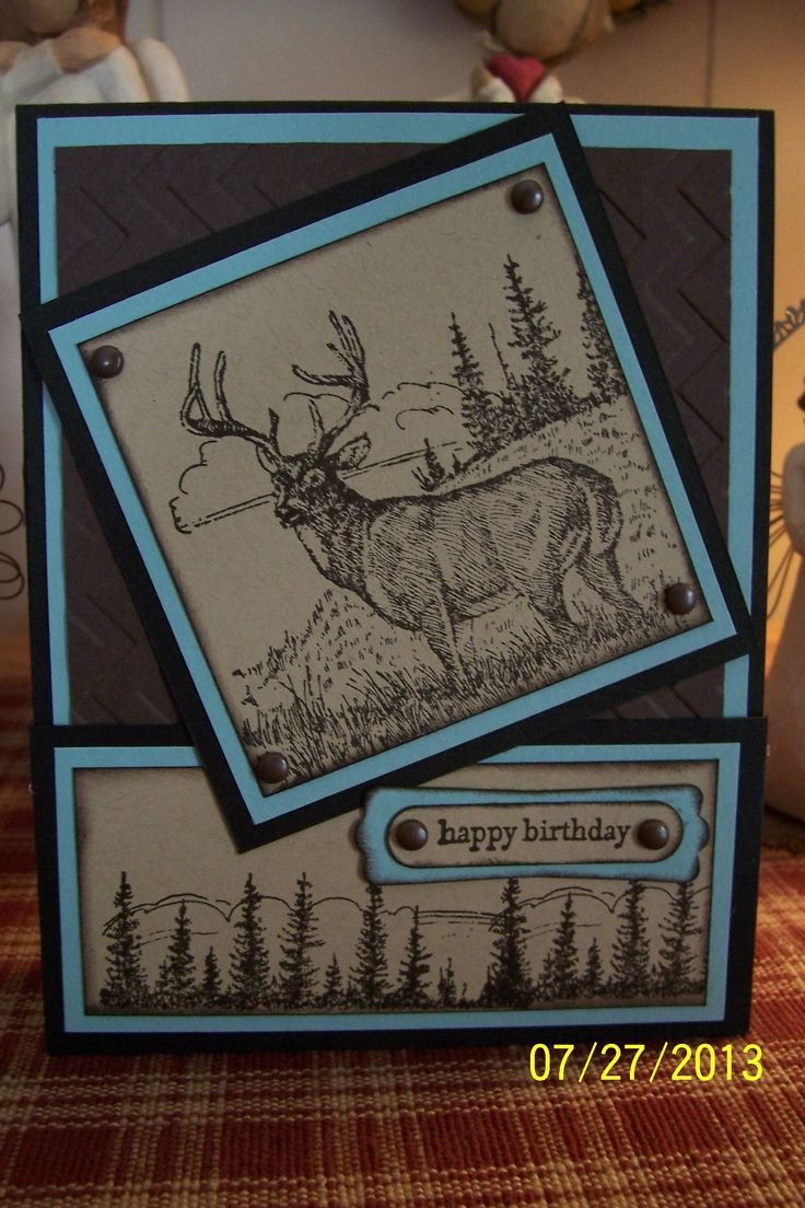 1543 best stampin up masculine cards images on pinterest masculine stampin up noble deer would change the blue tan perhaps or black and bookmarktalkfo Gallery