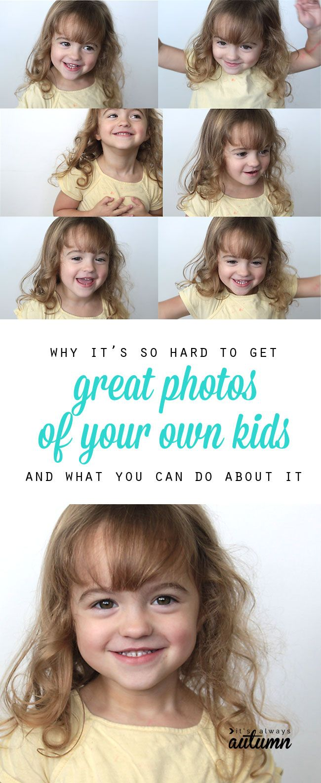 this post has some great ideas for making it a little easier to take great photos of your own kids. photography tips