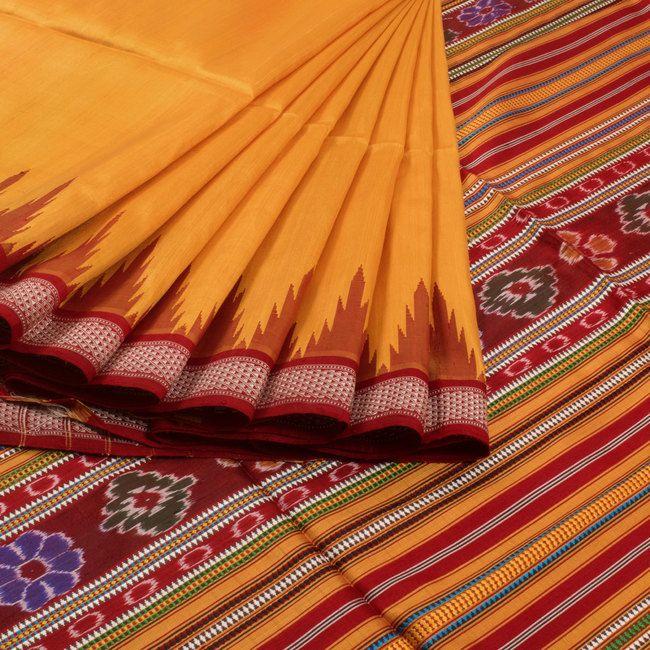 Vriksh Handwoven Bomkai Silk Saree with Temple Border 10006924 - profile - AVISHYA.COM