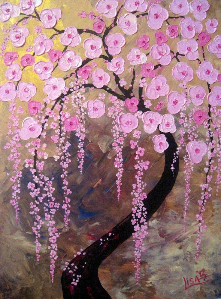 Duvar dekoru için harika modern sanat örnekleri çiçekli ağaç resimleri Palet bıçağı kullanılarak yapıldığını tahmin ediyorum :)