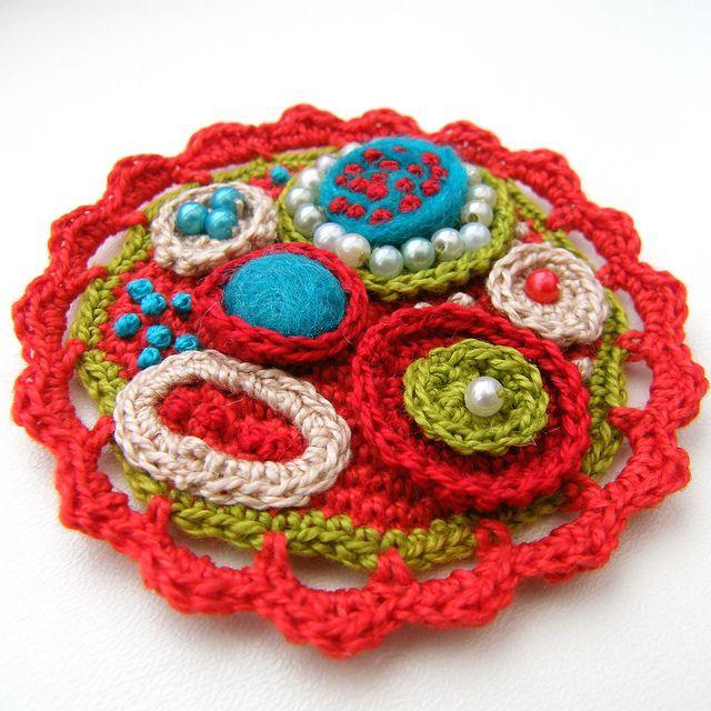 crocheted brooche