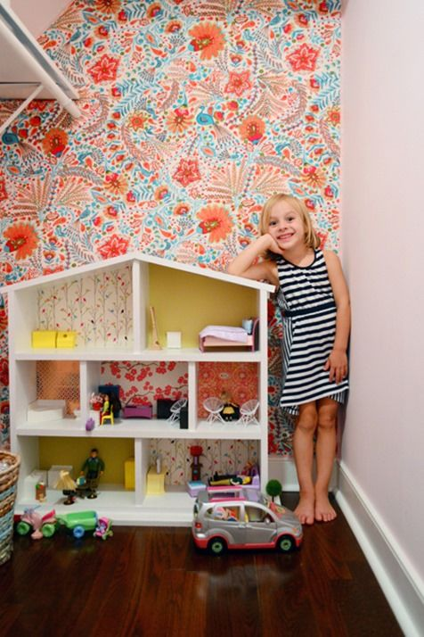 fabric covered wall - potential idea for basement playroom