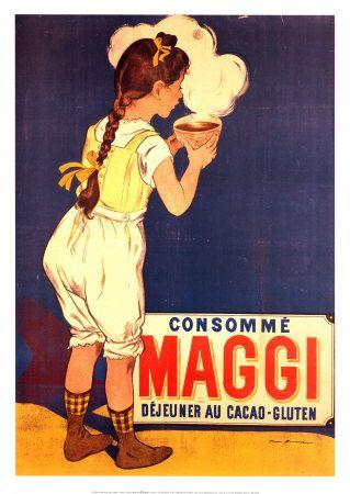 """Sopas Maggi. Creadas por  Justus Liebig. Sus sopas empezaron a comercializarse en 1884 y para la llegada de 1889 no sólo existín gran variedad , sino que además estaba a punto de llegar una gran revolución :el famoso cubito de caldo concentrado gracias al cual Maggi iba a ahorrar al ama de casa (trabajadora fuera del hogar, o no) un rato largo cociendo verduras y/o carnes para hacer simplemente """"un caldo""""."""