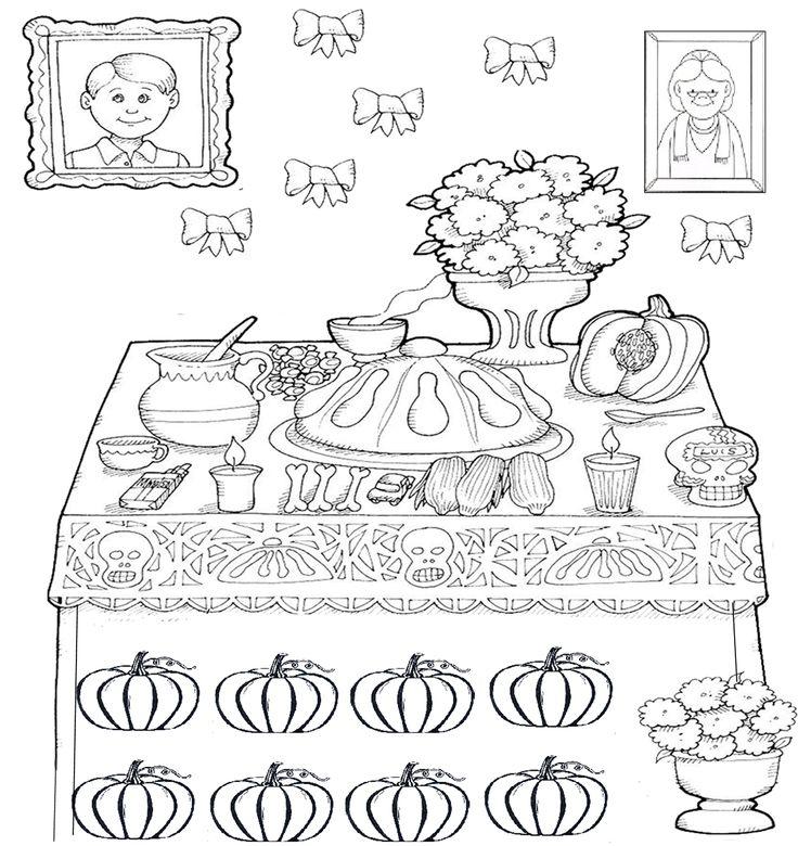 Altar De Muertos Para Colorear El Dia De Los Muertos Para