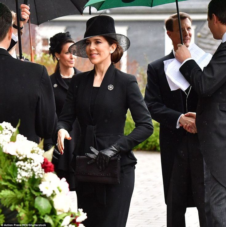 Crown Princess Mary arriving at the funeral of Richard of Sayn-Wittgenstein-Berleburg at h...